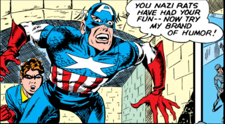 Swinging Through Comics, Captain America Comics, Issue 11, Captain America, Bucky, Nazi, Yelling