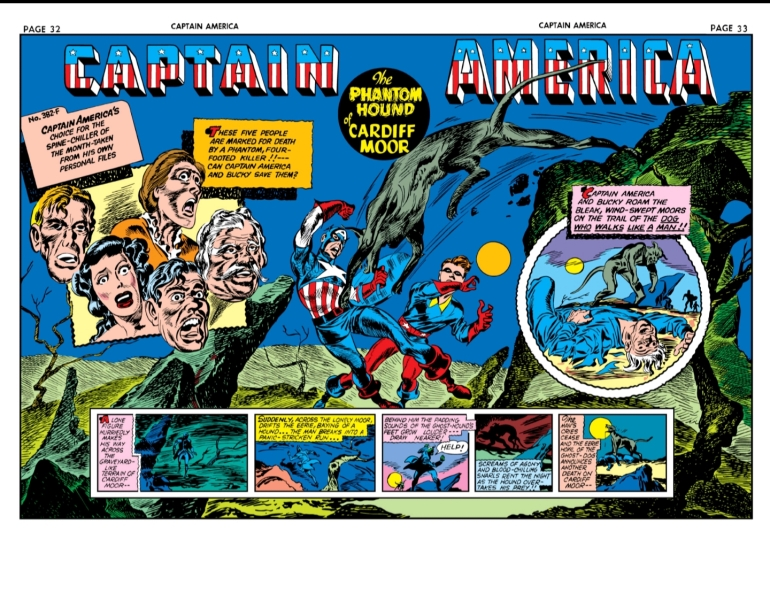 Swinging Through Comics, Captain America Comics, Issue 11, Captain America, Bucky, Phantom Hound, Splash Page