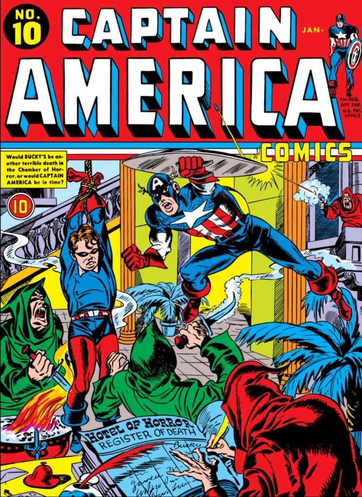 Swinging Through Comics, Captain America Comics, Issue 11, Captain America, Bucky, Nazi, Ghost Hound, Net-Man, Cover
