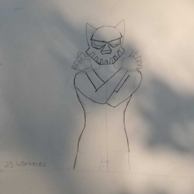 Tokutember 2020, day 23, weathered, tokusatsu, sketch 2